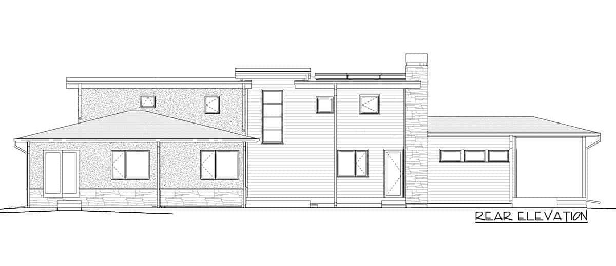 Rear elevation sketch of the two-story 4-bedroom modern prairie home.