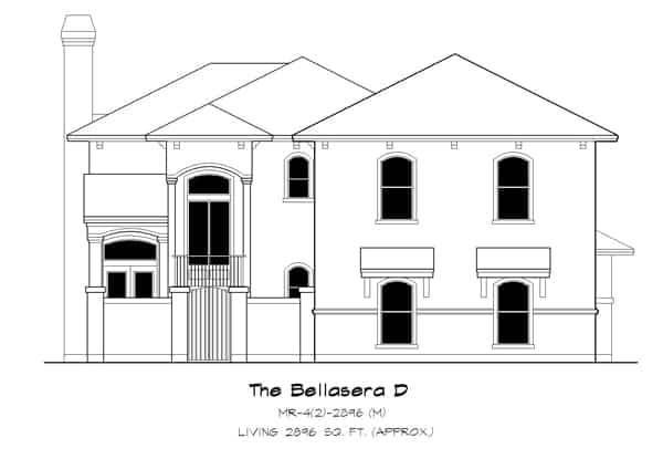 Front elevation sketch of the two-story 4-bedroom The Bellasera D Spanish home.