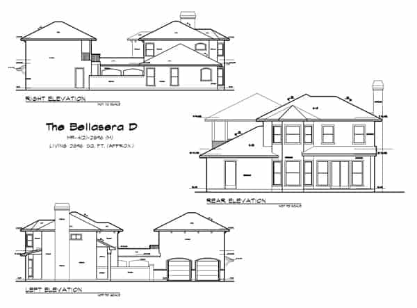 Right, left, and rear elevation sketch of the two-story 4-bedroom The Bellasera D Spanish home.