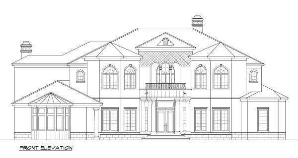 Front elevation sketch of the two-story 5-bedroom Cordillera Spanish home.