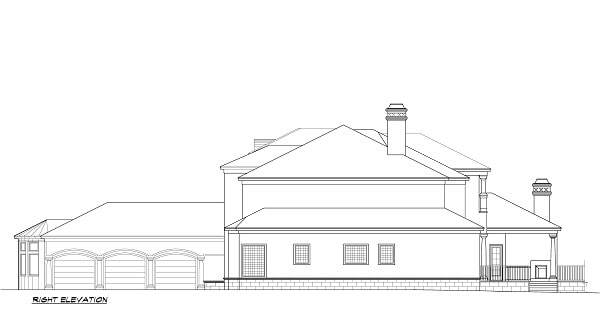 Right elevation sketch of the two-story 5-bedroom Cordillera Spanish home.