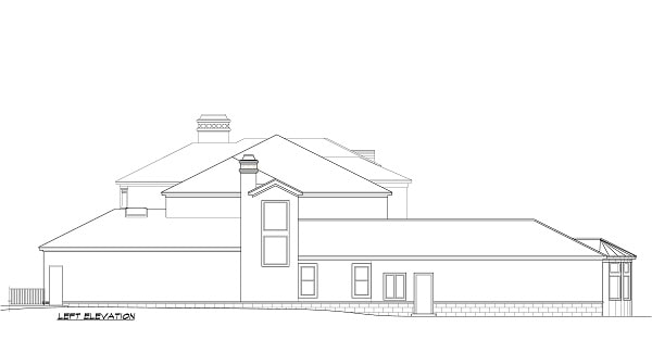 Left elevation sketch of the two-story 5-bedroom Cordillera Spanish home.