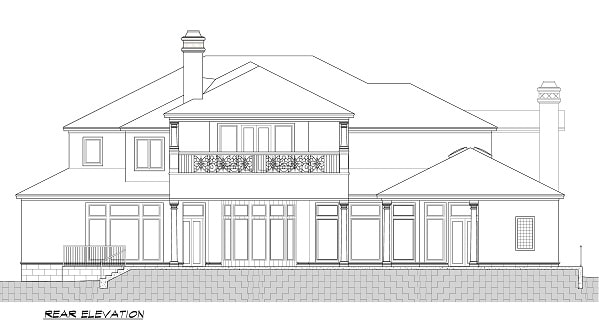 Rear elevation sketch of the two-story 5-bedroom Cordillera Spanish home.