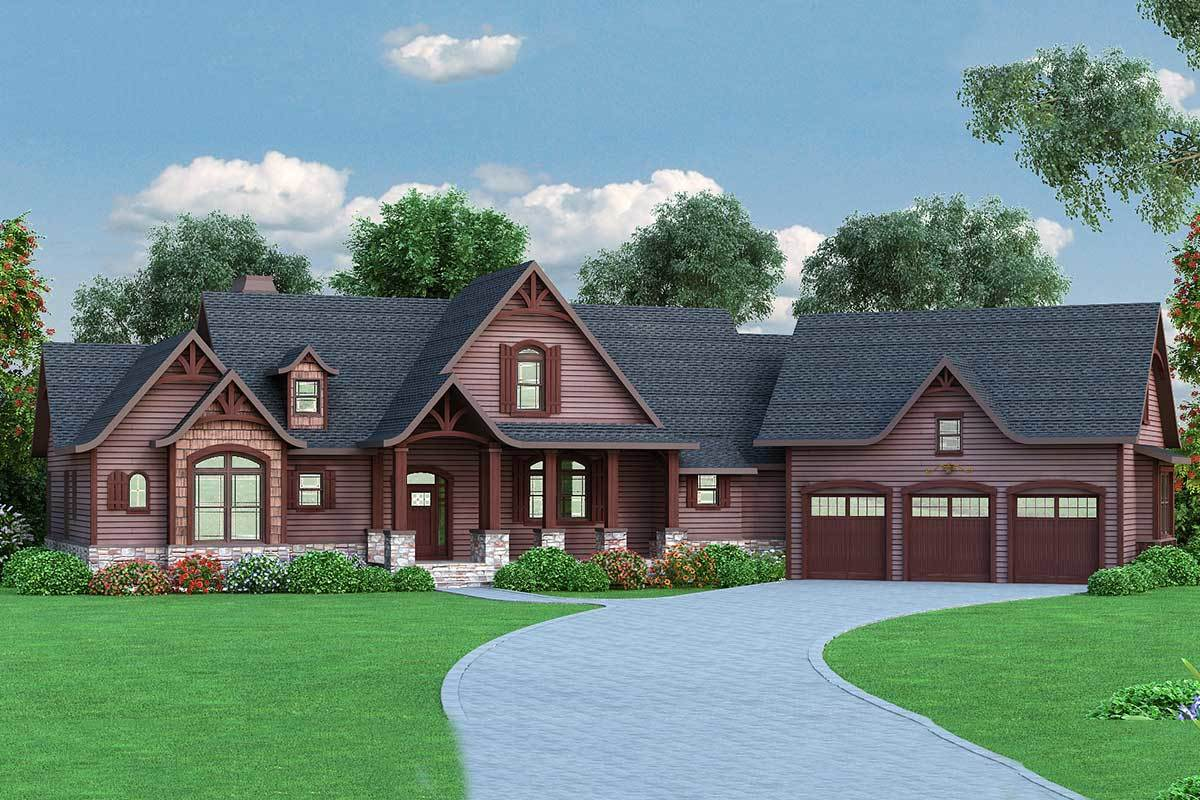 Front rendering of the two-story 5-bedroom craftsman home.