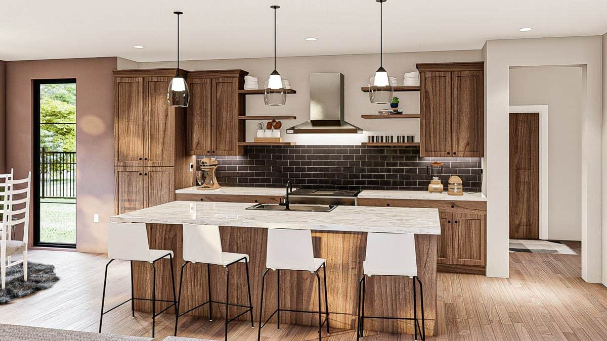The kitchen is equipped with marble countertops, black subway tile backsplash, wooden cabinets, and a breakfast island.