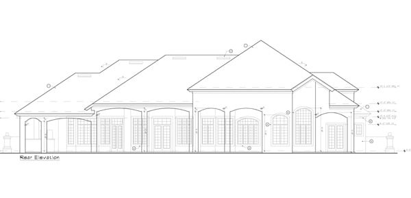 Rear elevation sketch of the two-story 5-bedroom Strasbourg Mediterranean home.