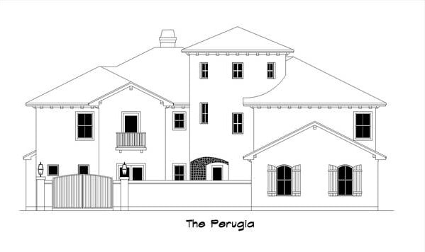 Front elevation sketch of the two-story 5-bedroom The Perugia Spanish home.