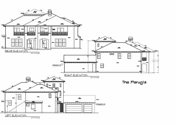 Right, left, and rear elevation sketch of the two-story 5-bedroom The Perugia Spanish home.