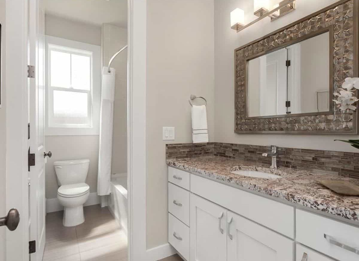This bathroom has a toilet, a tub and shower combo, and a white vanity paired with a decorative mirror.