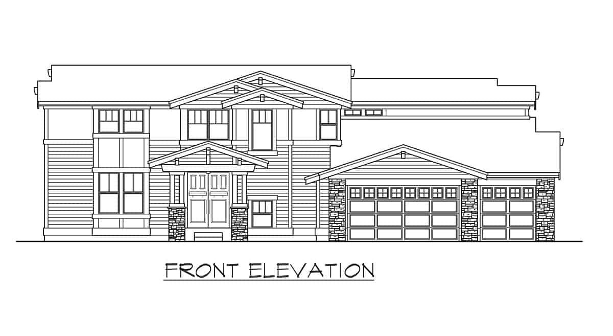 Front elevation sketch of the two-story 6-bedroom contemporary northwest home.