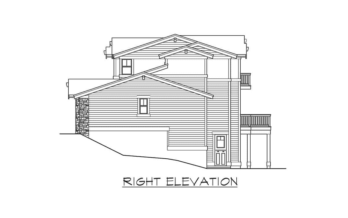 Right elevation sketch of the two-story 6-bedroom contemporary northwest home.