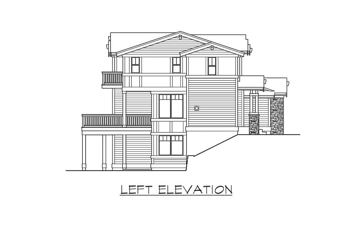 Left elevation sketch of the two-story 6-bedroom contemporary northwest home.