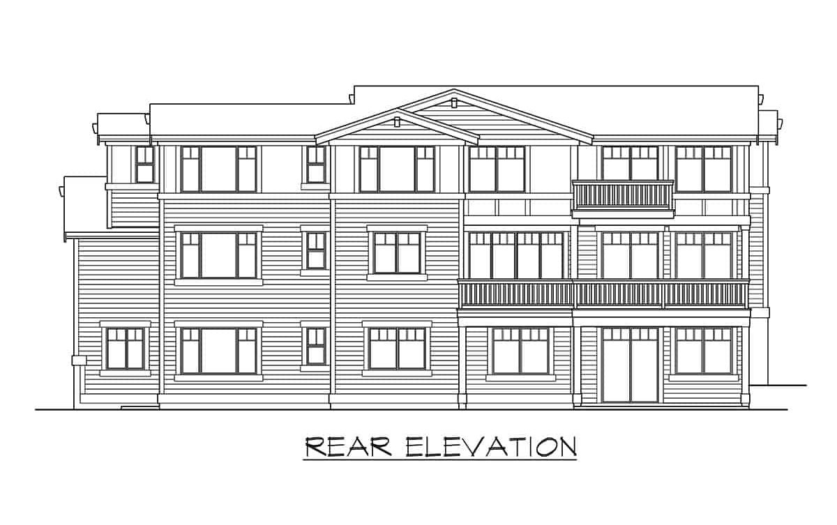Rear elevation sketch of the two-story 6-bedroom contemporary northwest home.