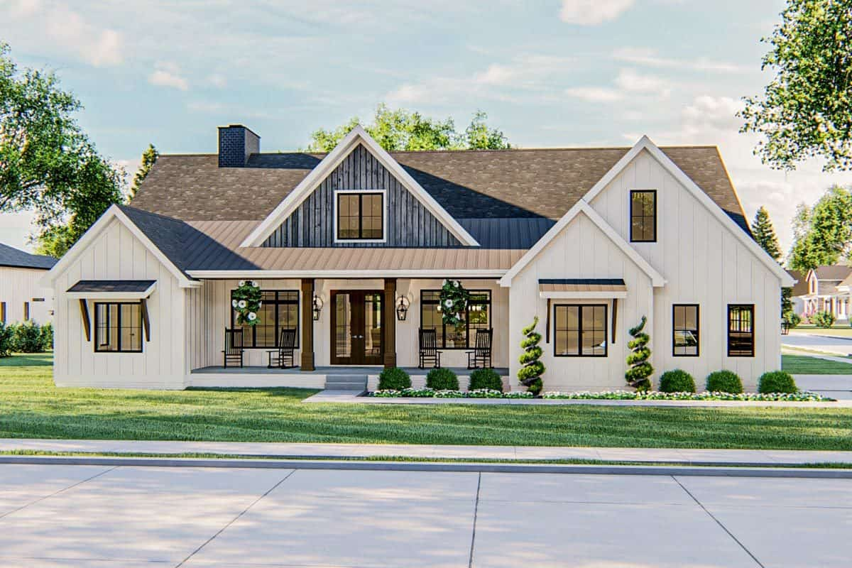 Two-Story 6-Bedroom Modern Farmhouse with a Bar