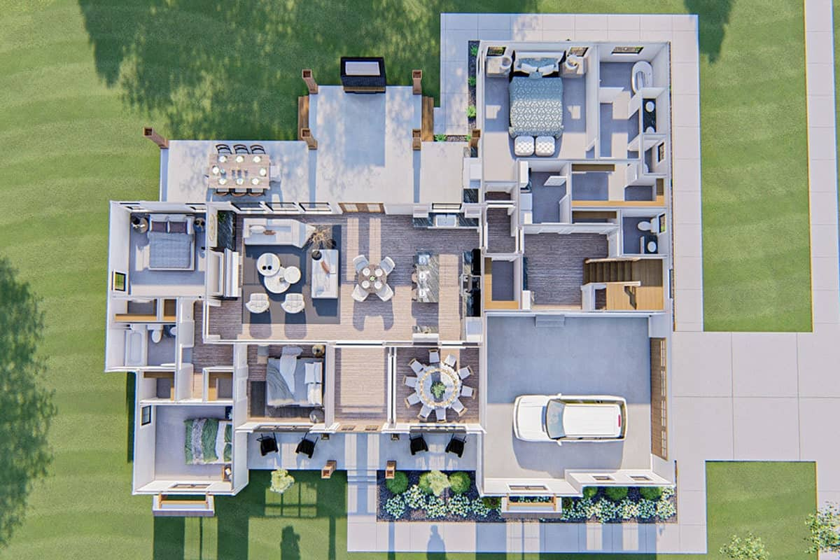 3D floor plan of the two-story 6-bedroom modern farmhouse.