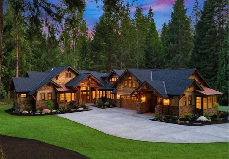 Two-Story 4-Bedroom Black Nugget Lodge Craftsman Style Home with Three-Car Garage