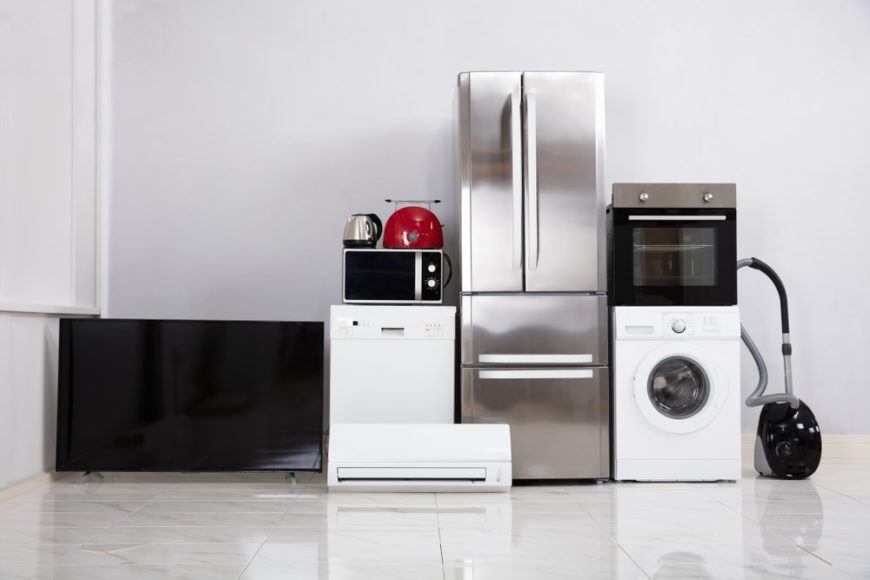 A set of used appliances inside a new home.