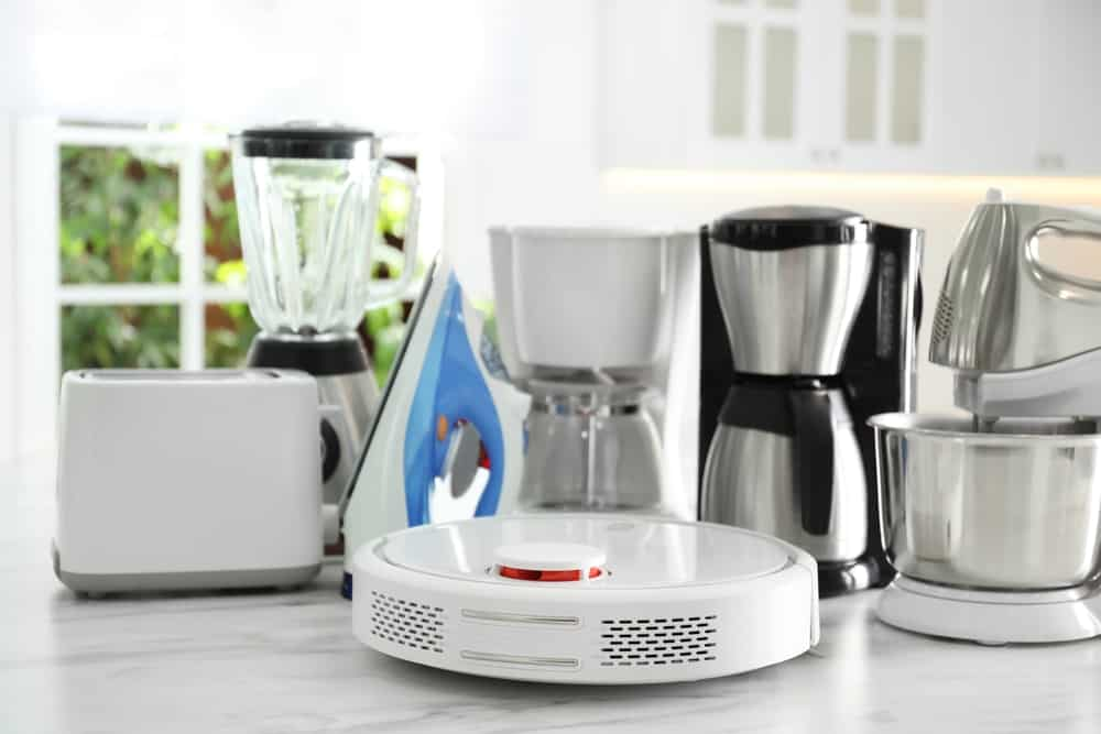 A set of small used appliances on a countertop.