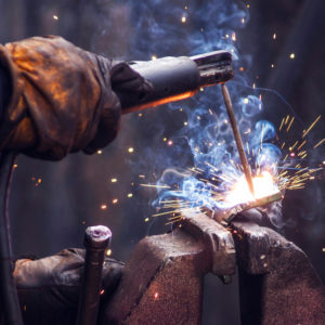 Welder in garage