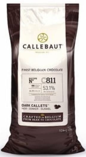Callebaut brand dark couverture hocolate for baking.