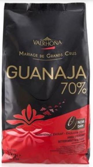 Valrhona brand Guanaja 70% dark couverture hocolate for baking.