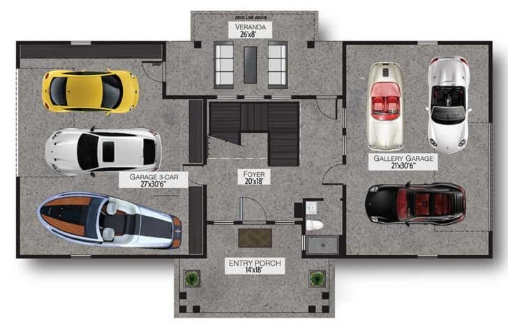 Garage layout of a barndominium