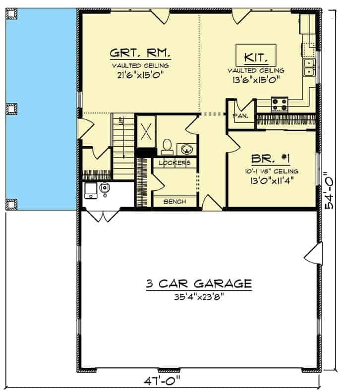 Main floor plan of barndominium