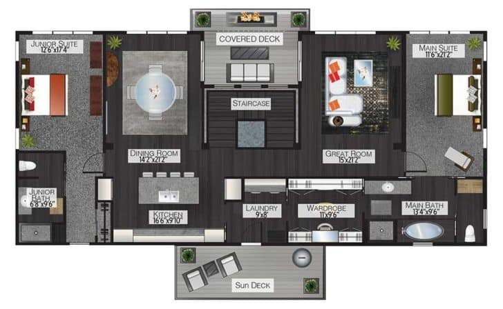 Upper level of a garage-style barndominium - floor plan