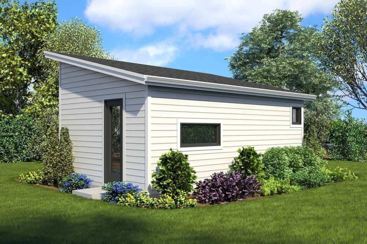 Rear rendering of the 1-bedroom single-story Bowman small farmhouse.