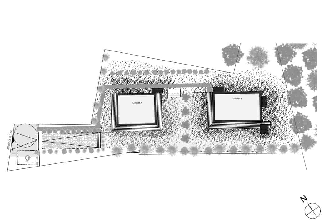 This is an illustration of the property showcasing the two structures and their placement within the property.