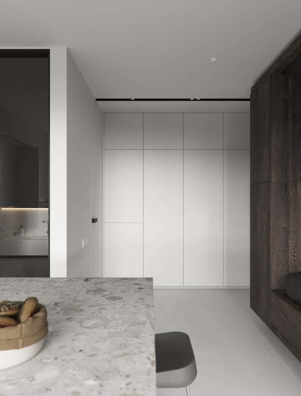 This is the white wall with built-in modern cabinets that is just a few steps from the kitchen and bed.