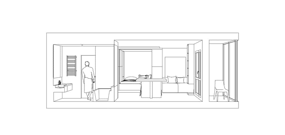 This is a side elevation of the flat showcasing the bathroom on the far side beside the kitchen.