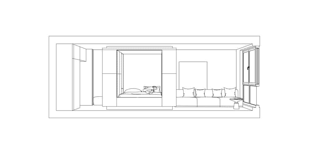 This is a side elevation that shows the proximity of the bedroom and the living room.