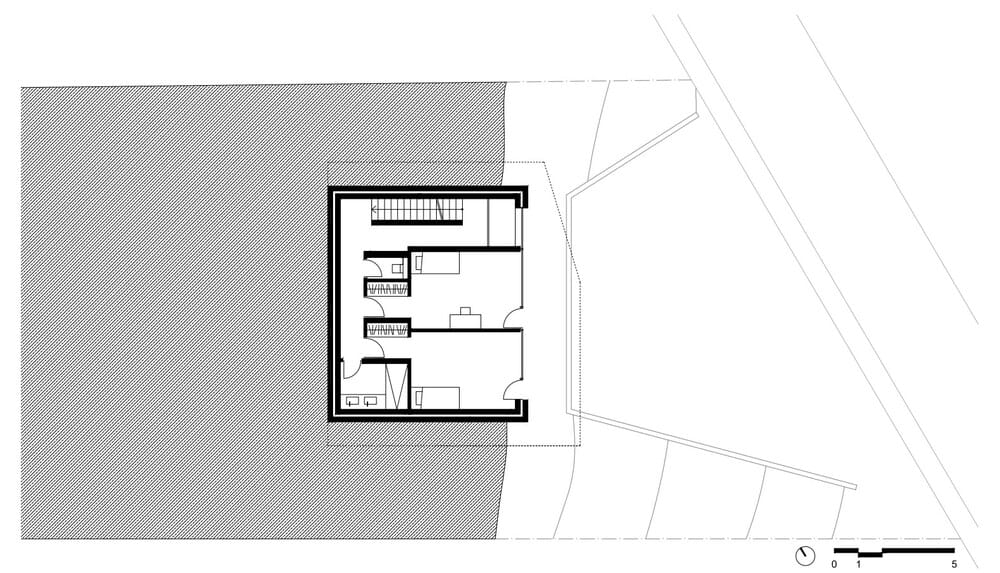 This is an illustration of the first level floor plan and its sections.