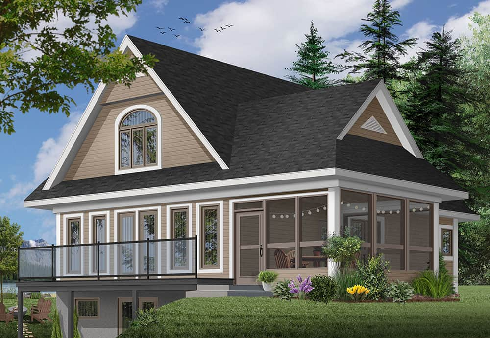 Rear rendering of the 2-bedroom two-story The Woodline 2 beach front country style home.