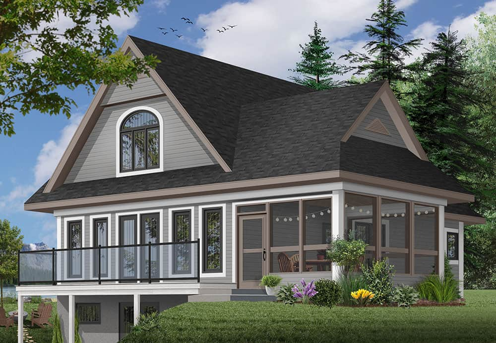 Rear rendering of the 2-bedroom two-story The Woodline 2 beach front country style home with a gray alternate exterior.