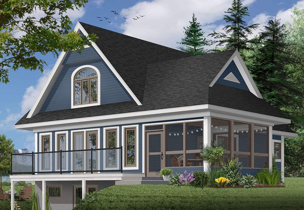 Rear rendering of the 2-bedroom Two-story The Woodline 2 beach front country style home with a blue alternate exterior.