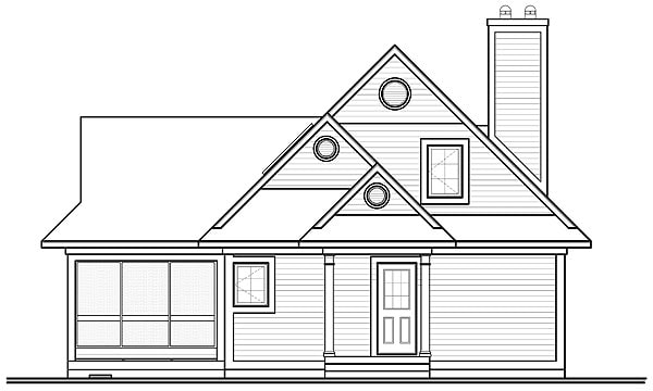 Front elevation sketch of the 2-bedroom two-story The Woodline 2 beach front country style home.