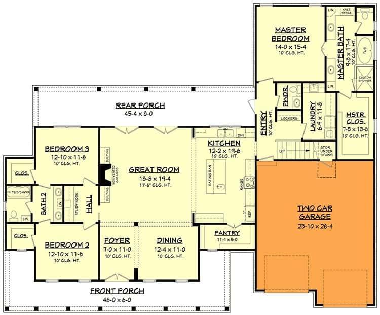 Main level floor plan showing the 3-car side garage option.