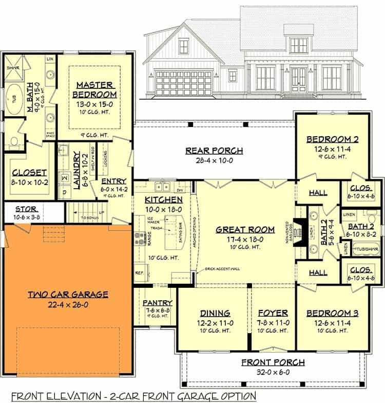 Main level floor plan with 2-car front garage option.