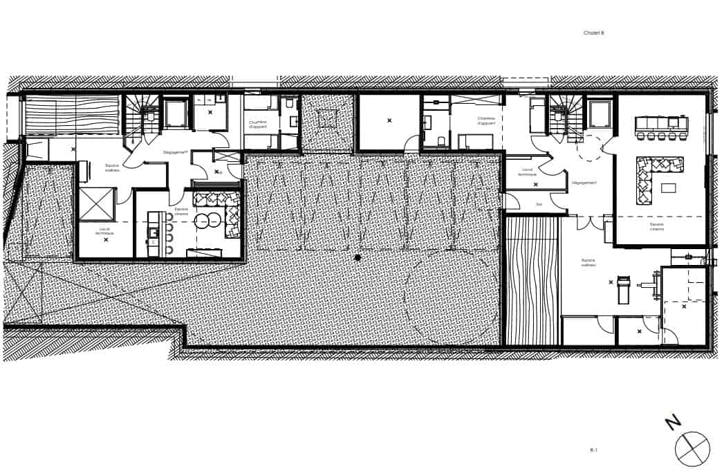 This is an illustration of the ground level floor plan of the main structure.