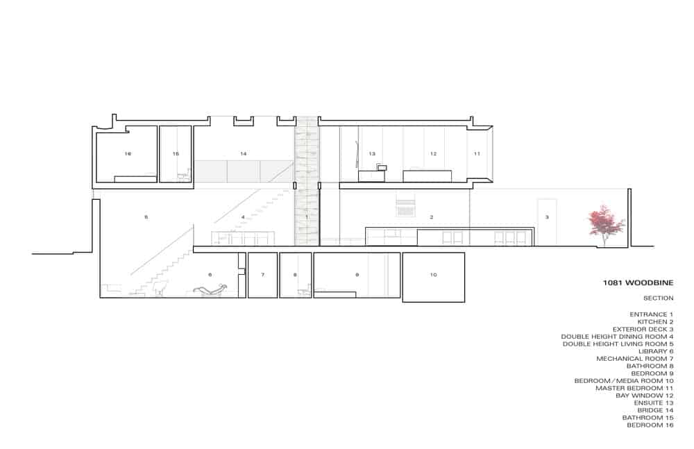 This is an illustration of the side elevation of the house with the various sections of the house marked with numbers.