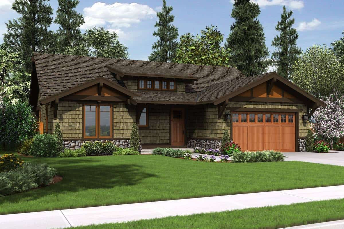 Front rendering of the 3-bedroom single-story bungalow style Rollinsford home.