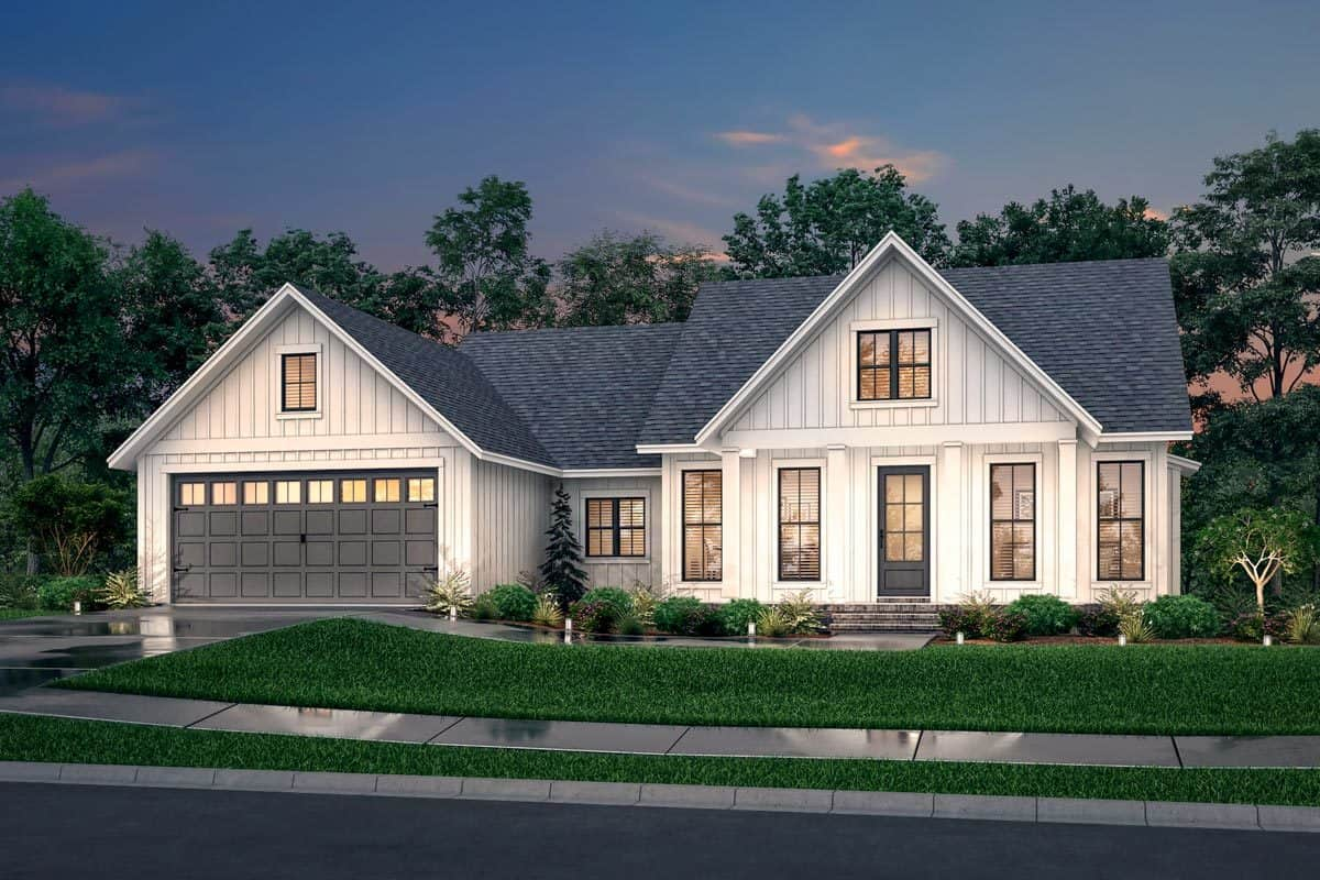 Front rendering of the 3-bedroom single-story modern farmhouse.
