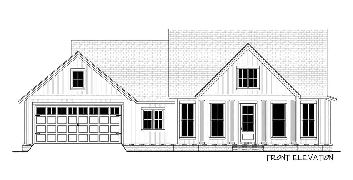 Front elevation sketch of the 3-bedroom single-story modern farmhouse.