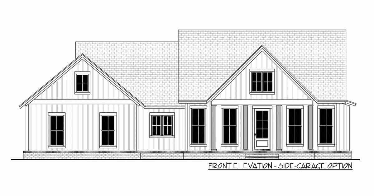 Front elevation side-garage option sketch of the 3-bedroom single-story modern farmhouse.