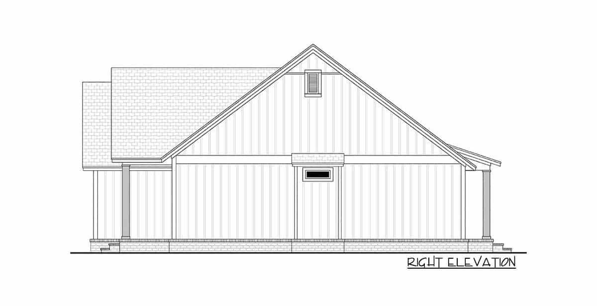 Right elevation sketch of the 3-bedroom single-story modern farmhouse.