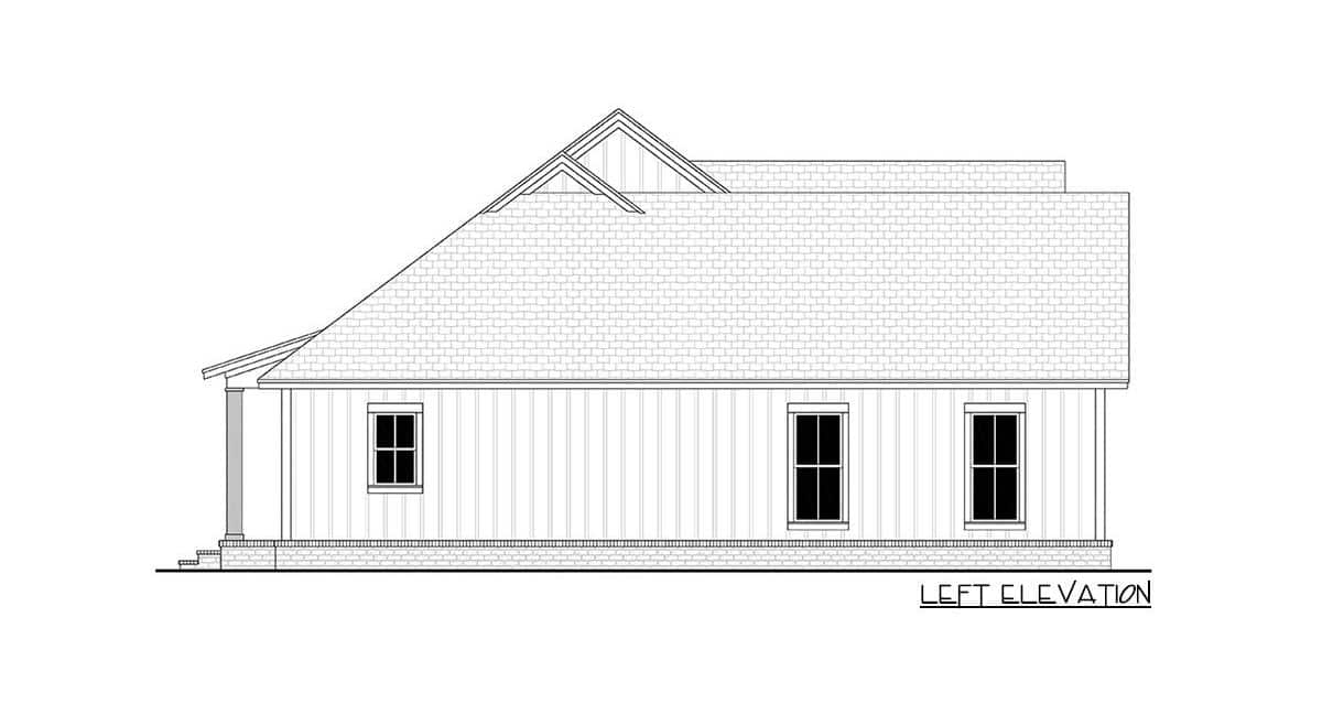 Left elevation sketch of the 3-bedroom single-story modern farmhouse.