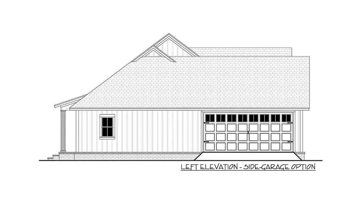Left elevation side-garage option sketch of the 3-bedroom single-story modern farmhouse.