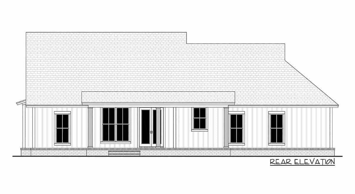 Rear elevation sketch of the 3-bedroom single-story modern farmhouse.